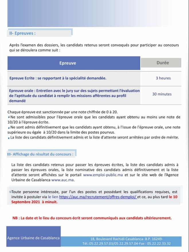 Avis concours de recrutement 2 de L'agence Urbaine de casablanca